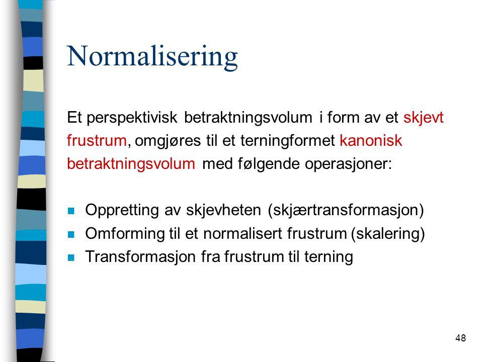 Normalisering Et perspektivisk betraktningsvolum i form av et skjevt