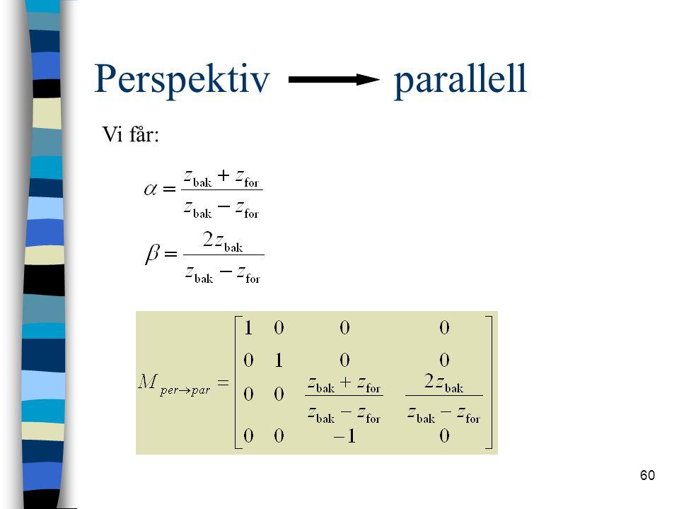 Perspektiv parallell Vi får: