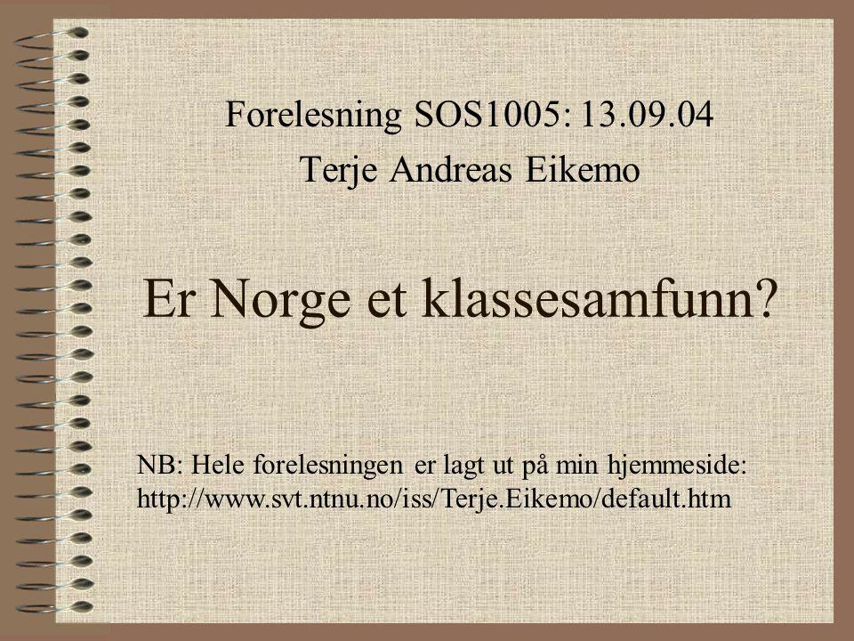 Er Norge et klassesamfunn