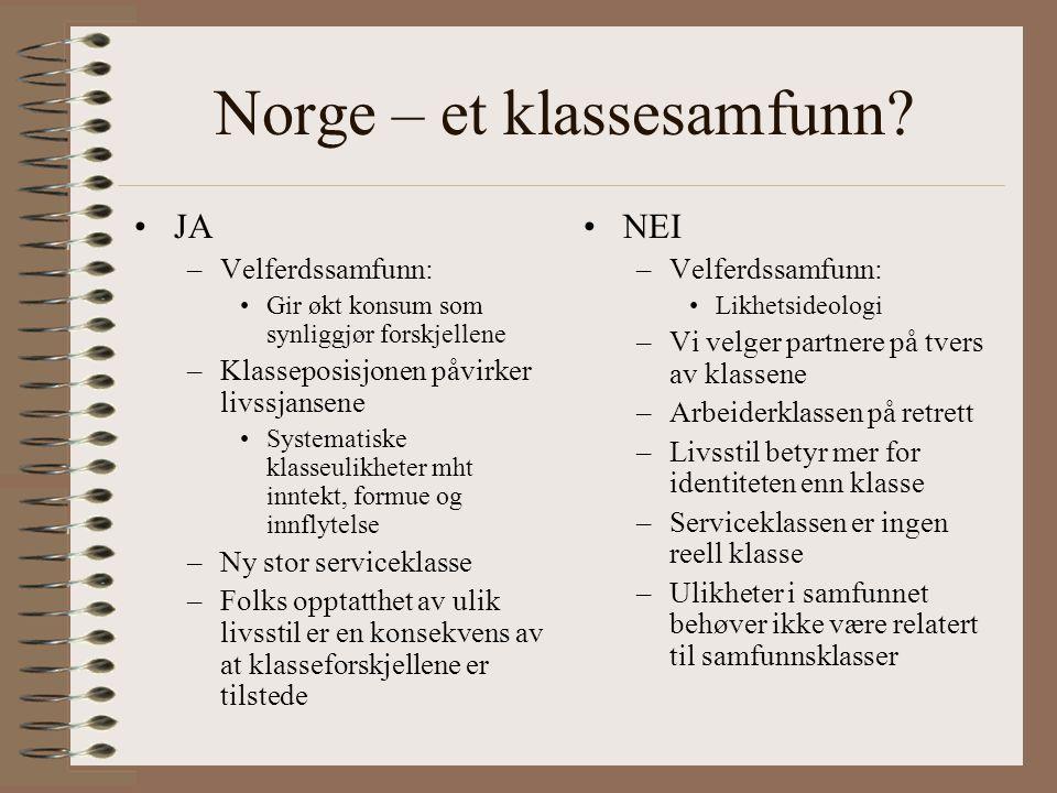 Norge – et klassesamfunn