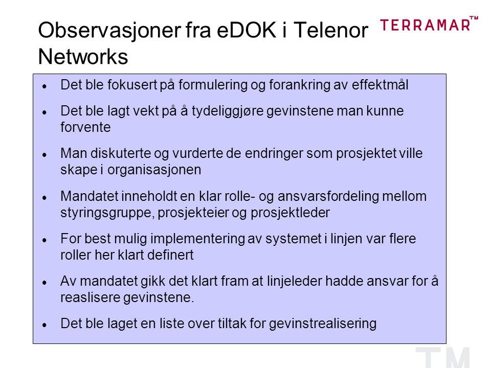 Observasjoner fra eDOK i Telenor Networks