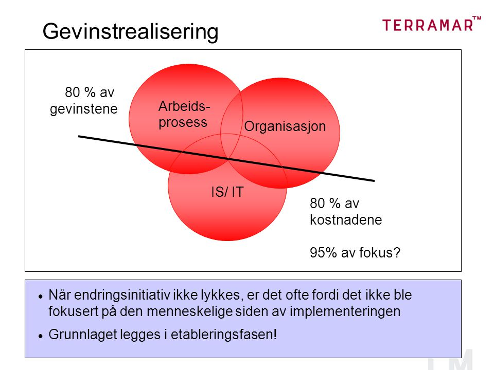 Gevinstrealisering gevinstene Arbeids- prosess Organisasjon IS/ IT
