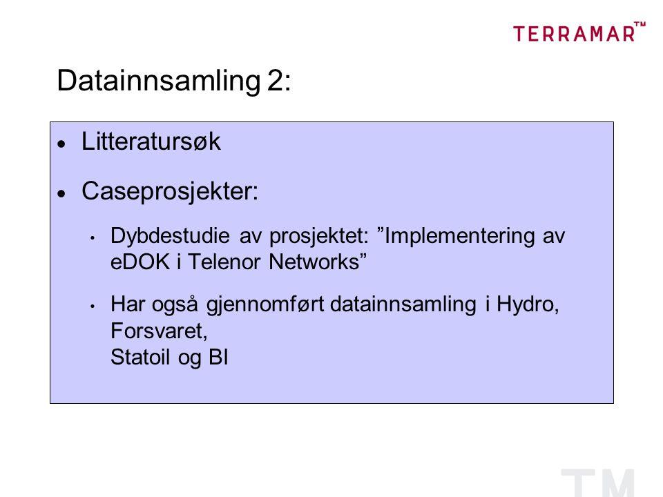 Datainnsamling 2: Litteratursøk Caseprosjekter: