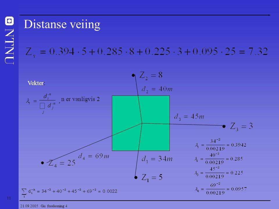 Distanse veiing å Vekter: d n er vanligvis 2 l = ,