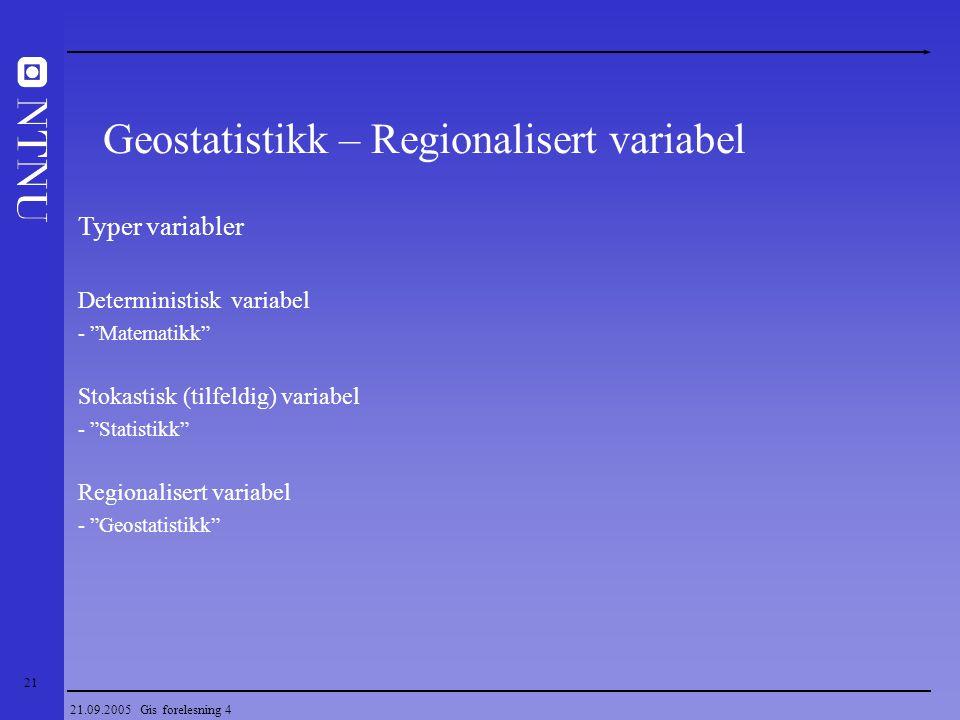 Geostatistikk – Regionalisert variabel