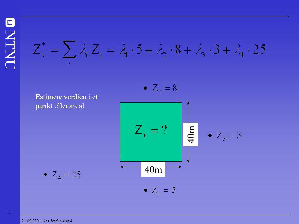 40m 40m Estimere verdien i et punkt eller areal