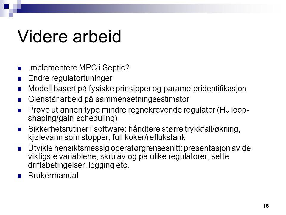Videre arbeid Implementere MPC i Septic Endre regulatortuninger