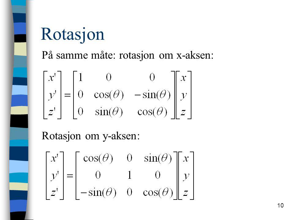 Rotasjon På samme måte: rotasjon om x-aksen: Rotasjon om y-aksen:
