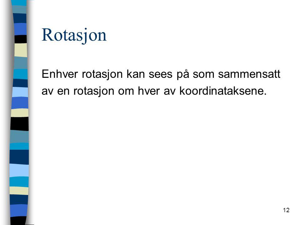 Rotasjon Enhver rotasjon kan sees på som sammensatt