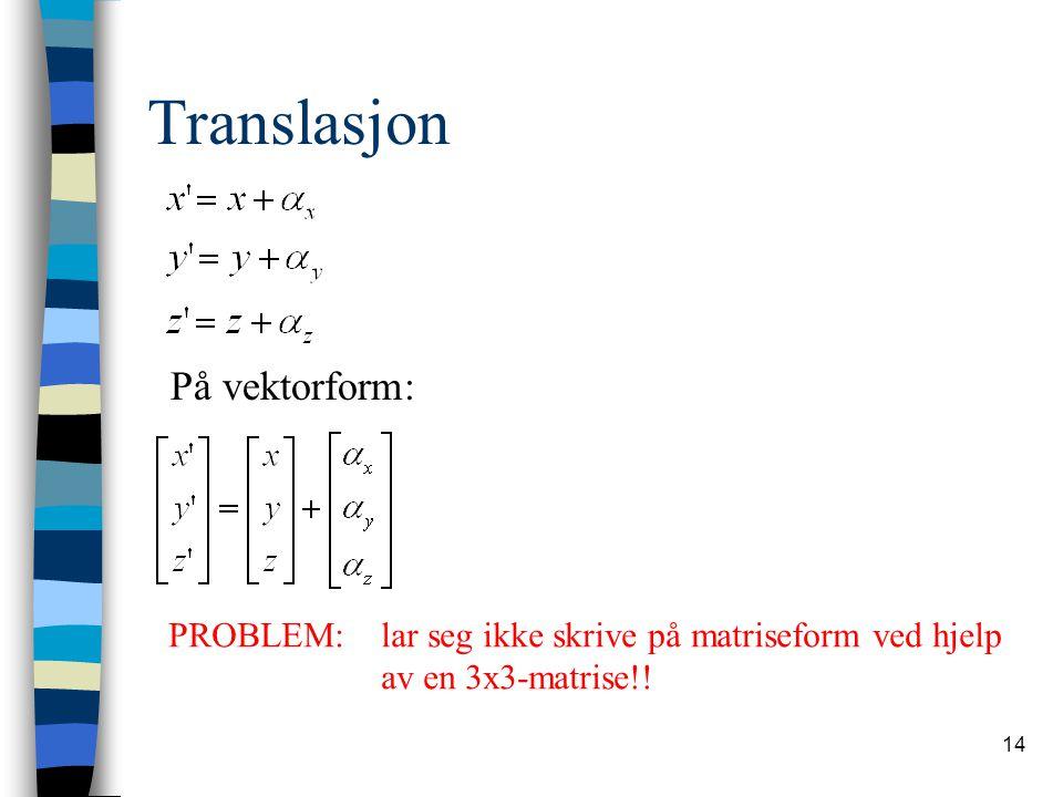 Translasjon På vektorform: