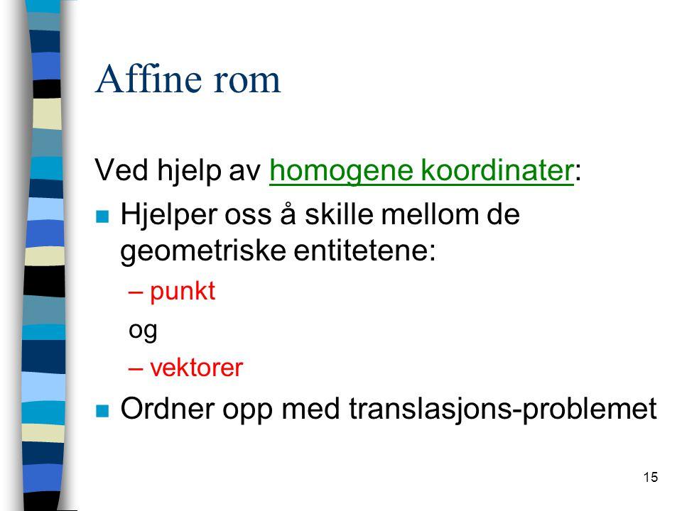 Affine rom Ved hjelp av homogene koordinater: