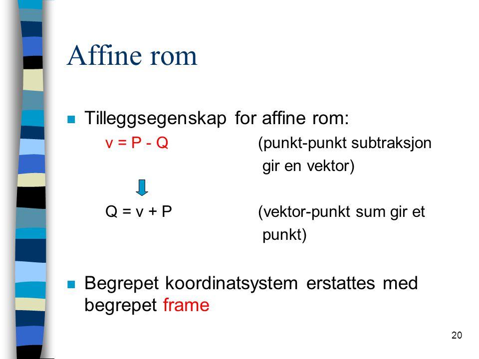 Affine rom Tilleggsegenskap for affine rom: