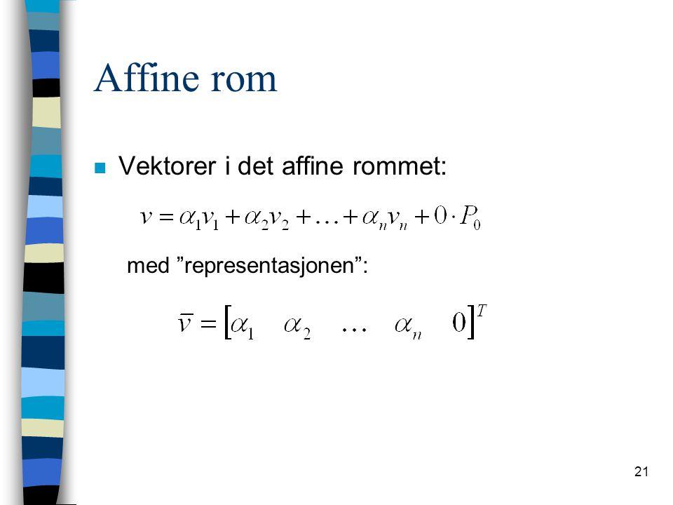 Affine rom Vektorer i det affine rommet: med representasjonen :