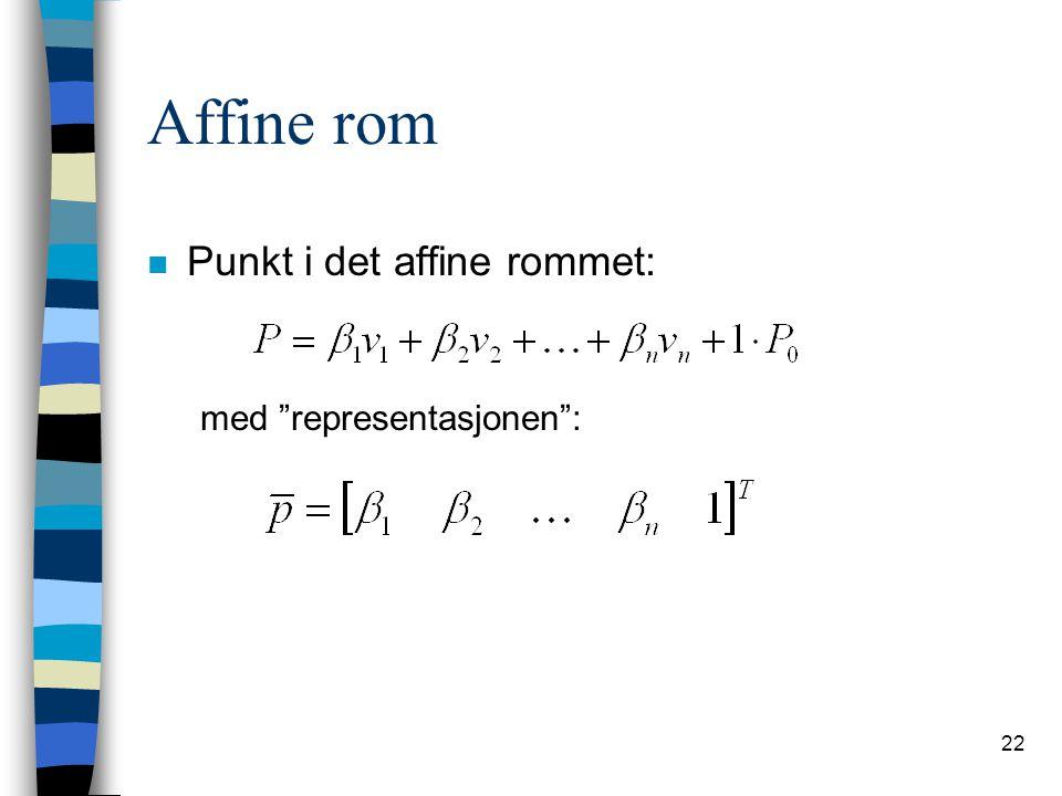 Affine rom Punkt i det affine rommet: med representasjonen :