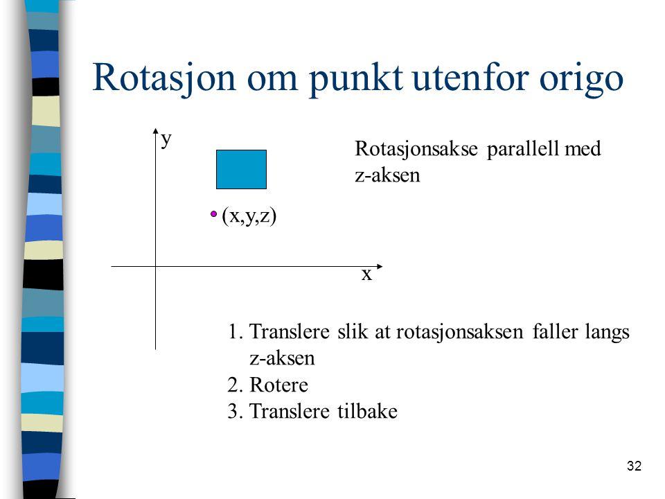 Rotasjon om punkt utenfor origo