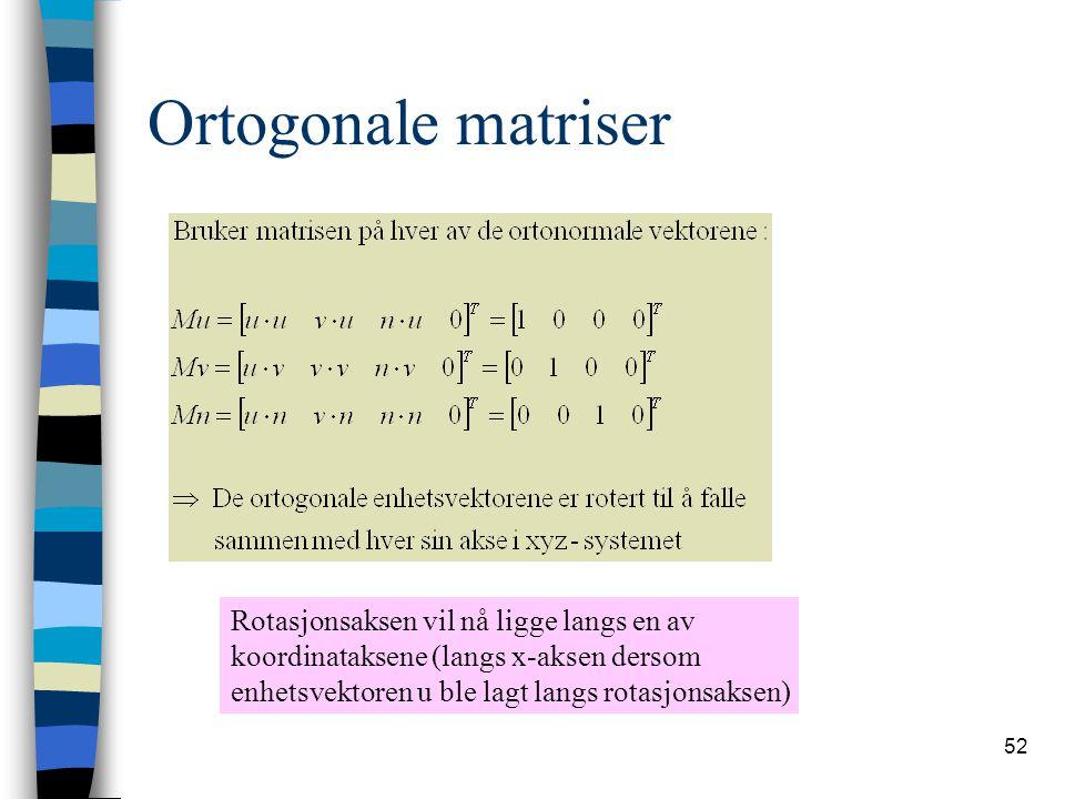 Ortogonale matriser Rotasjonsaksen vil nå ligge langs en av