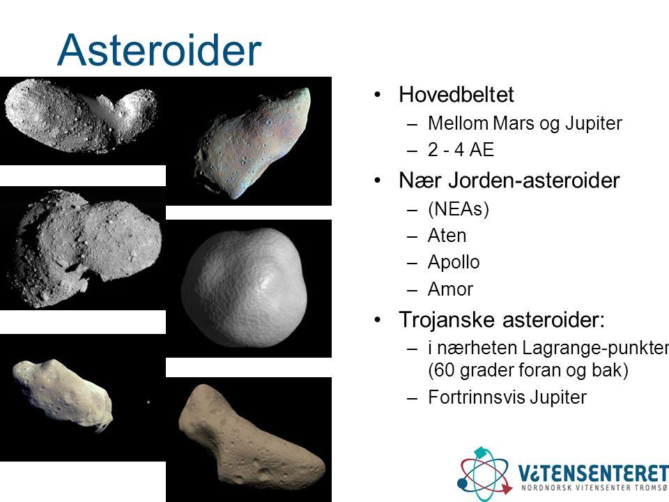 Asteroider Hovedbeltet Nær Jorden-asteroider Trojanske asteroider: