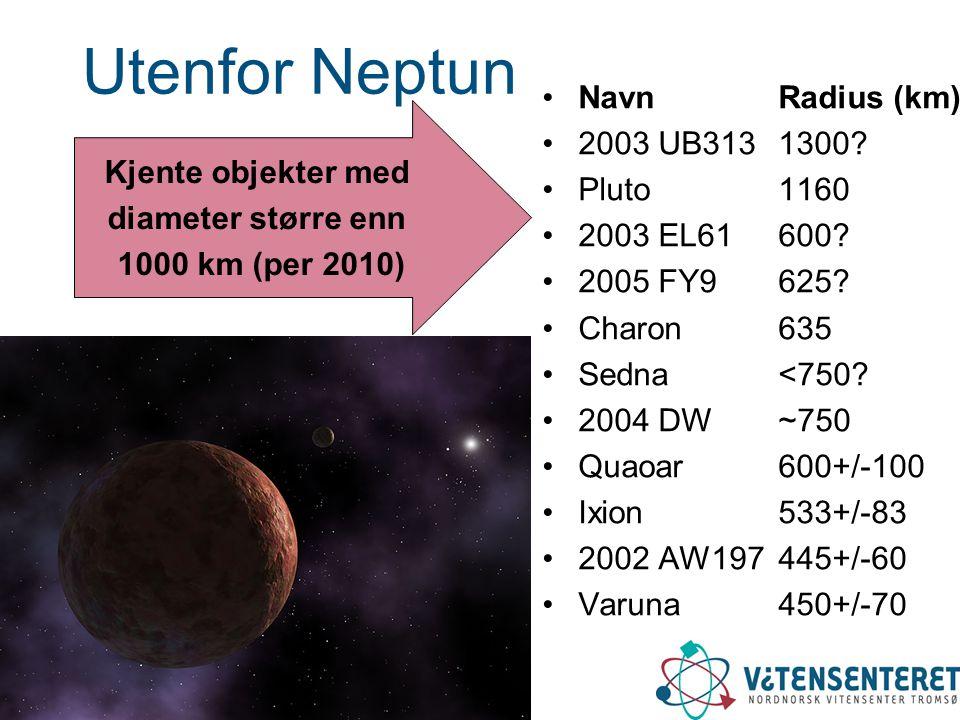 Utenfor Neptun Navn Radius (km) 2003 UB313 1300 Pluto 1160