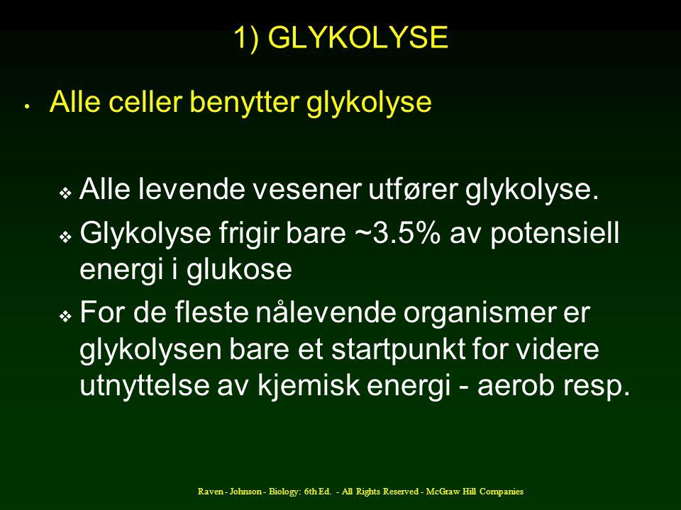 Alle celler benytter glykolyse Alle levende vesener utfører glykolyse.