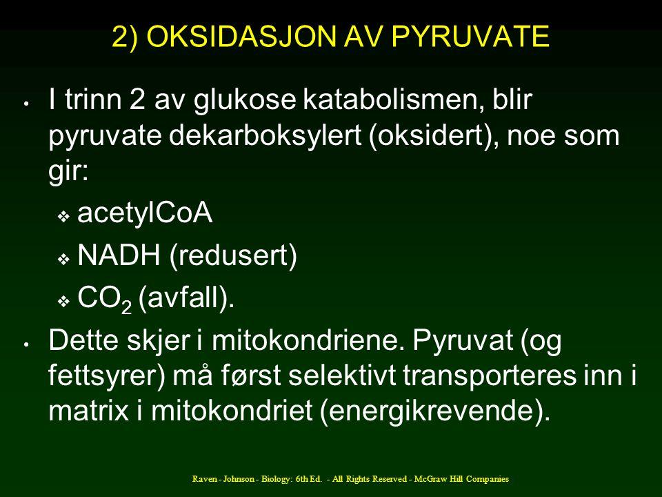 2) OKSIDASJON AV PYRUVATE
