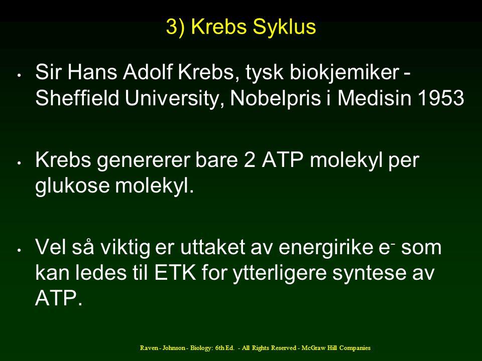 Krebs genererer bare 2 ATP molekyl per glukose molekyl.