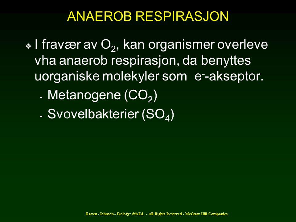 ANAEROB RESPIRASJON I fravær av O2, kan organismer overleve vha anaerob respirasjon, da benyttes uorganiske molekyler som e--akseptor.