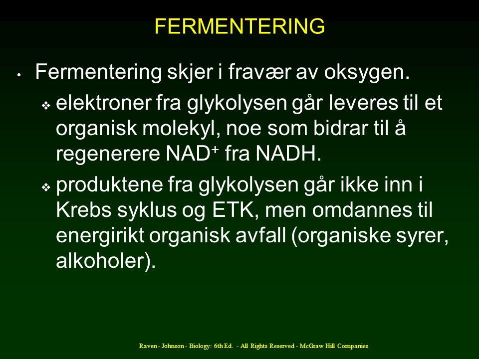 Fermentering skjer i fravær av oksygen.