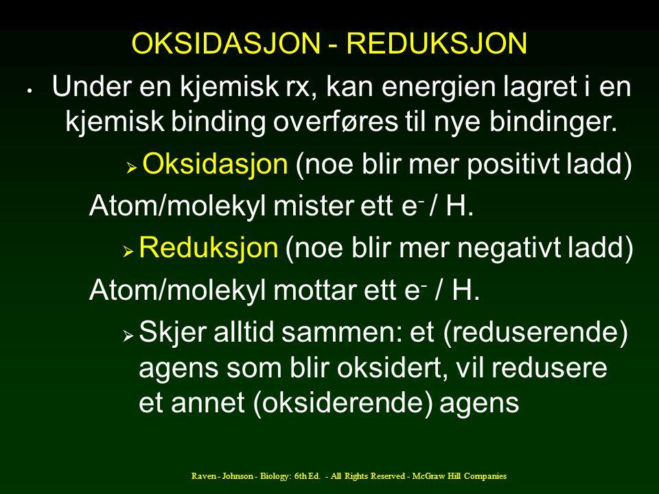 OKSIDASJON - REDUKSJON