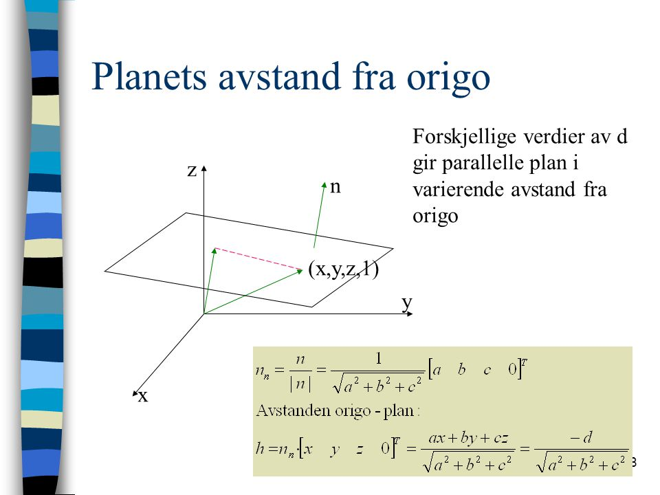 Planets avstand fra origo