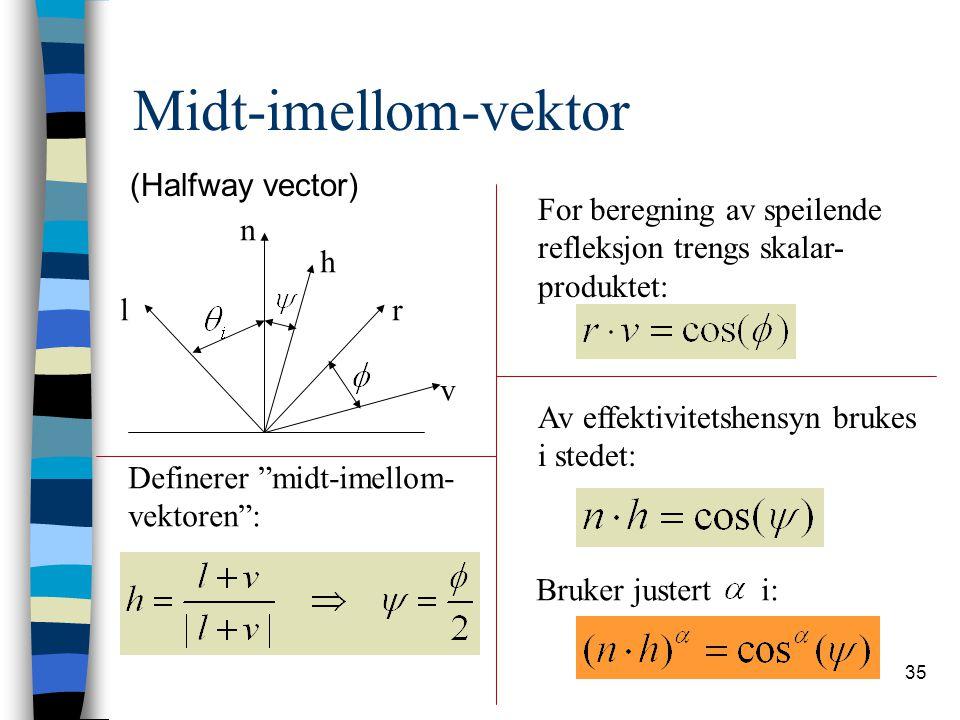 Midt-imellom-vektor (Halfway vector) For beregning av speilende