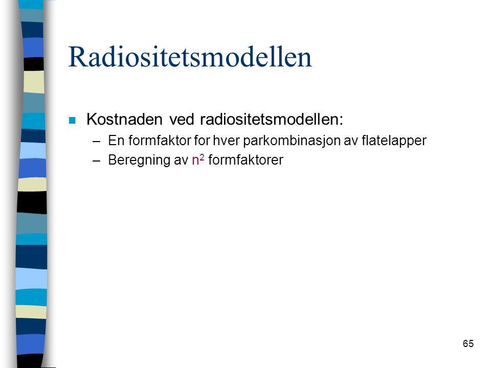 Radiositetsmodellen Kostnaden ved radiositetsmodellen: