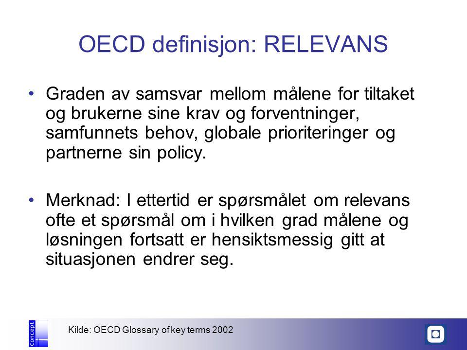 OECD definisjon: RELEVANS