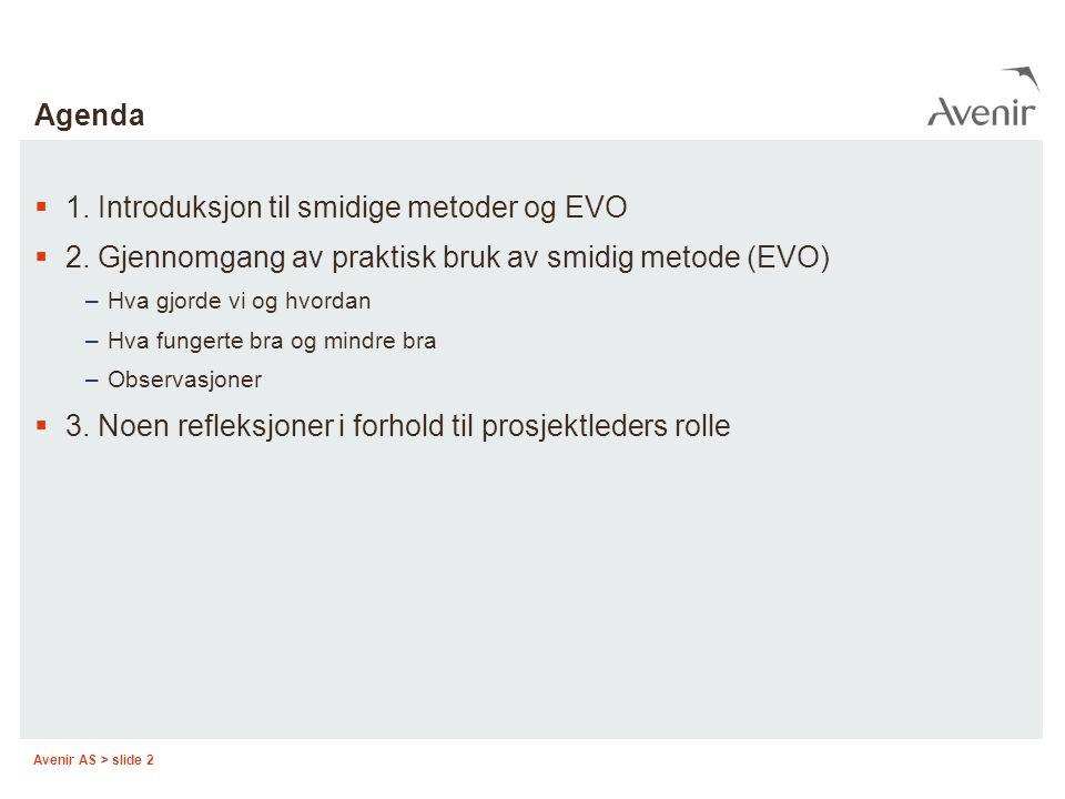 1. Introduksjon til smidige metoder og EVO