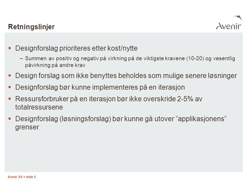 Designforslag prioriteres etter kost/nytte