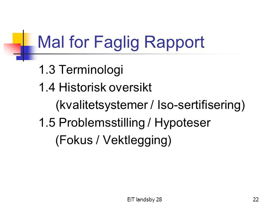 Mal for Faglig Rapport 1.3 Terminologi 1.4 Historisk oversikt