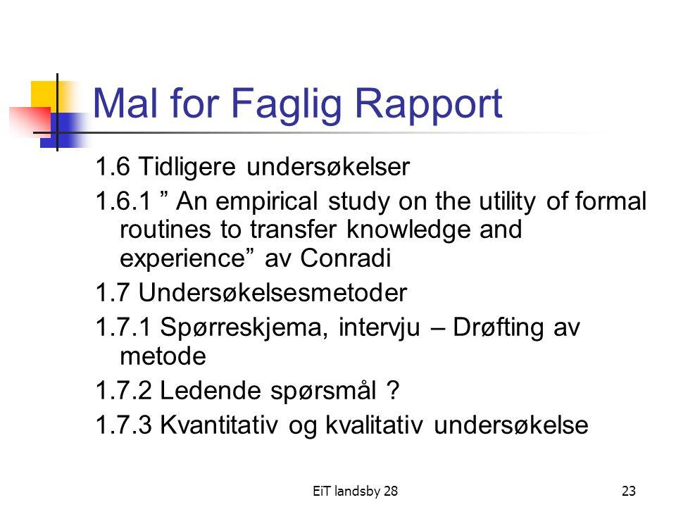 Mal for Faglig Rapport 1.6 Tidligere undersøkelser