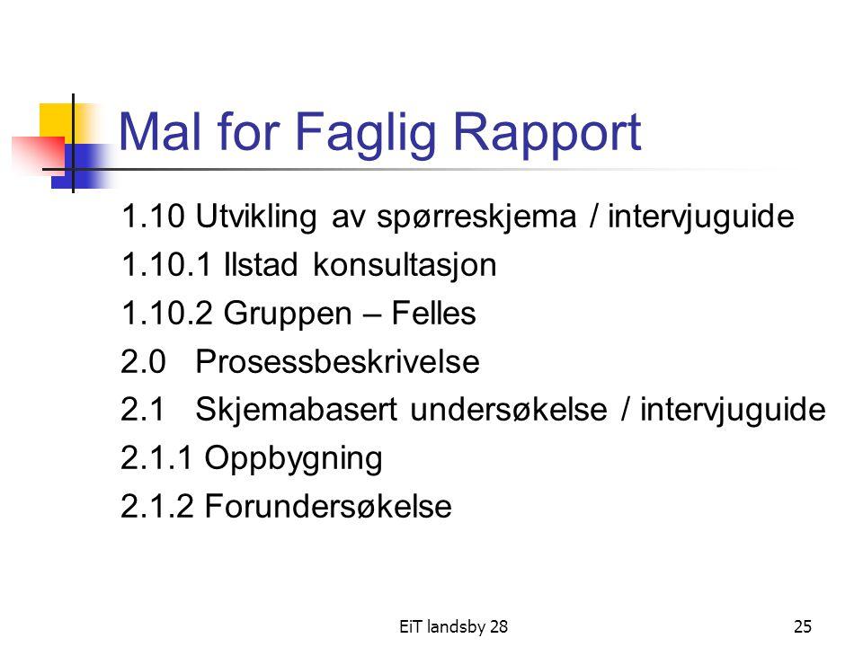 Mal for Faglig Rapport 1.10 Utvikling av spørreskjema / intervjuguide