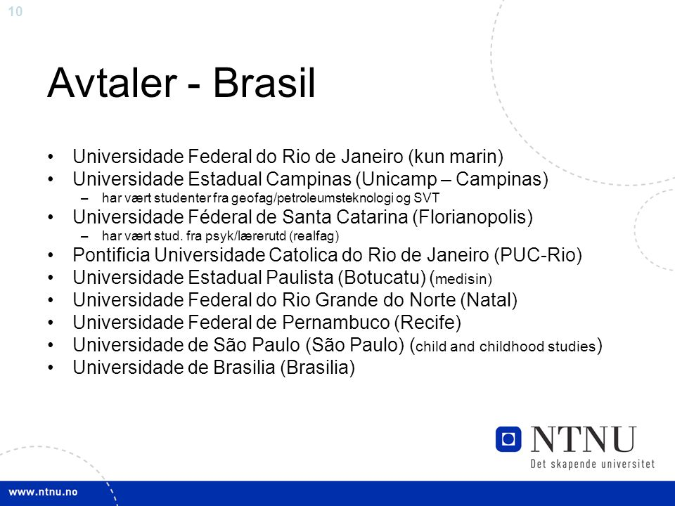 Avtaler - Brasil Universidade Federal do Rio de Janeiro (kun marin)
