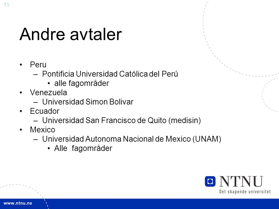 Andre avtaler Peru Pontificia Universidad Católica del Perú