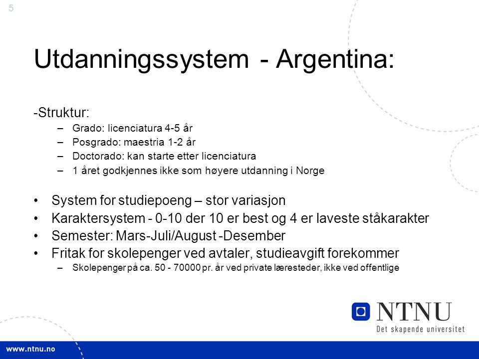 Utdanningssystem - Argentina: