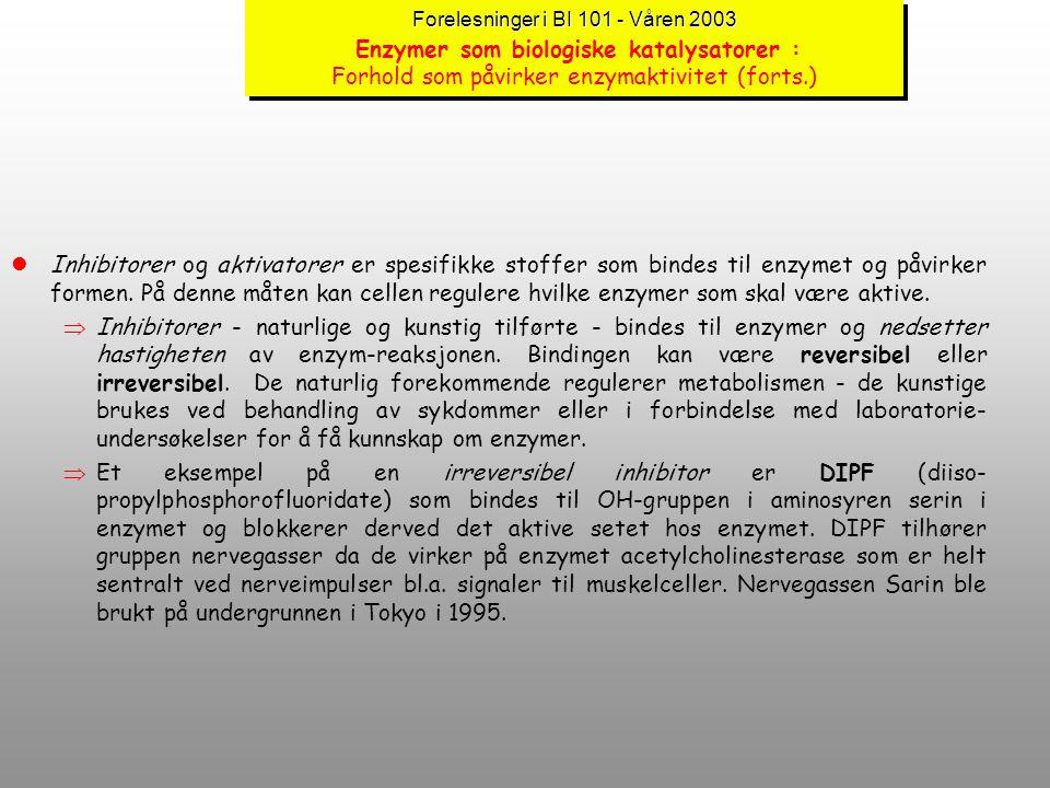 Forelesninger i BI 101 - Våren 2003 Enzymer som biologiske katalysatorer : Forhold som påvirker enzymaktivitet (forts.)