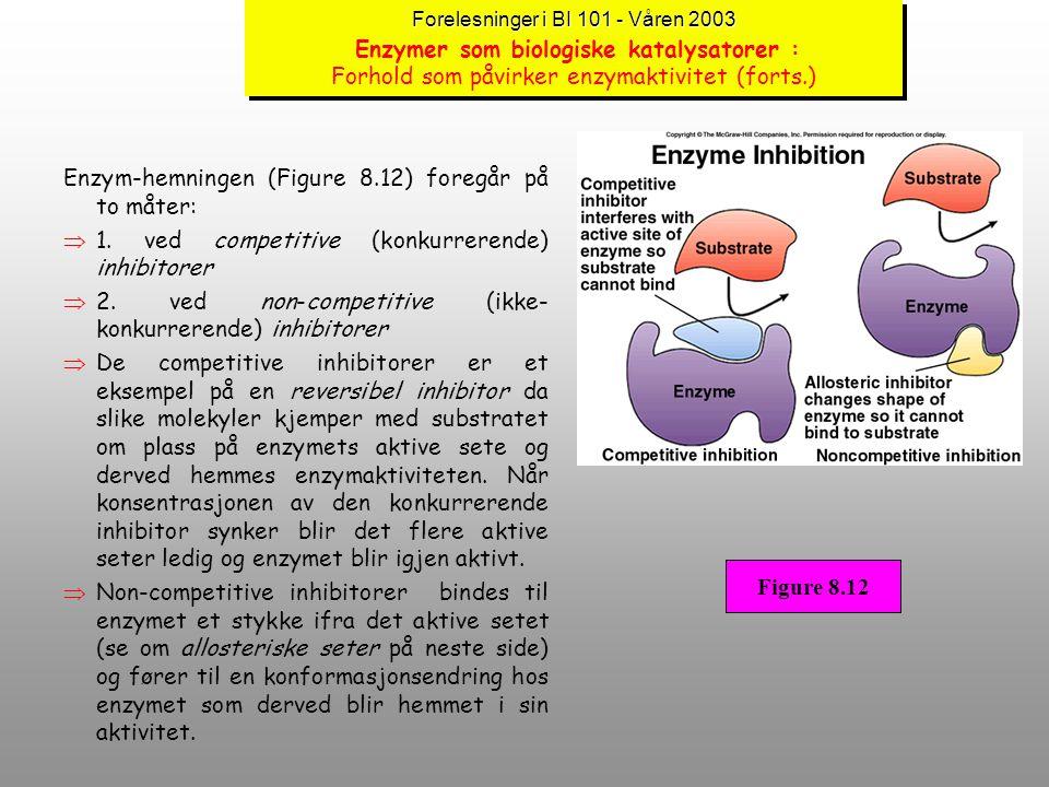 Enzym-hemningen (Figure 8.12) foregår på to måter: