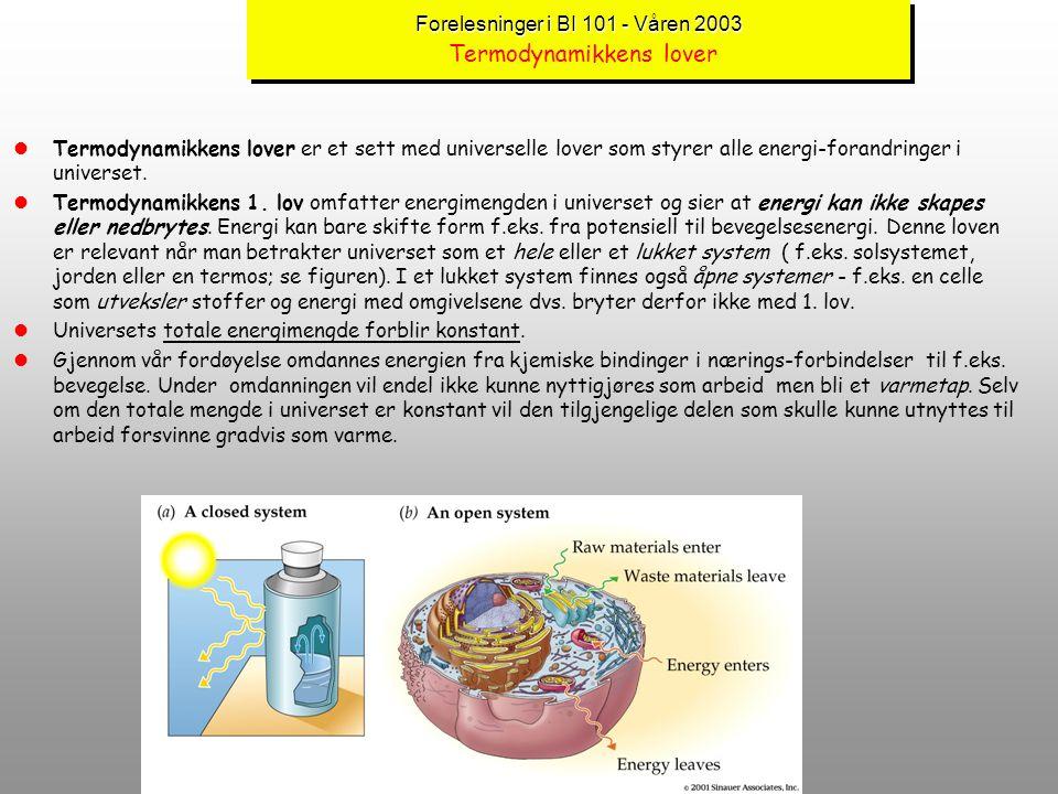 Forelesninger i BI 101 - Våren 2003 Termodynamikkens lover
