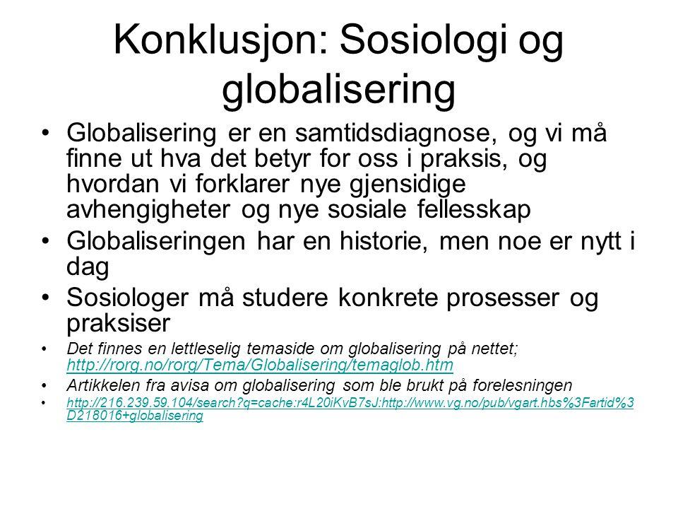 Konklusjon: Sosiologi og globalisering