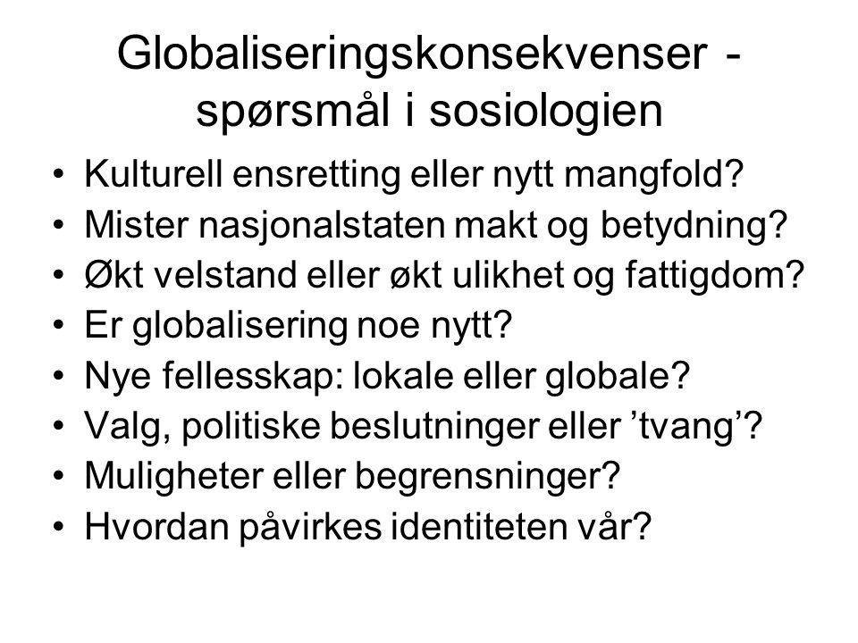 Globaliseringskonsekvenser - spørsmål i sosiologien