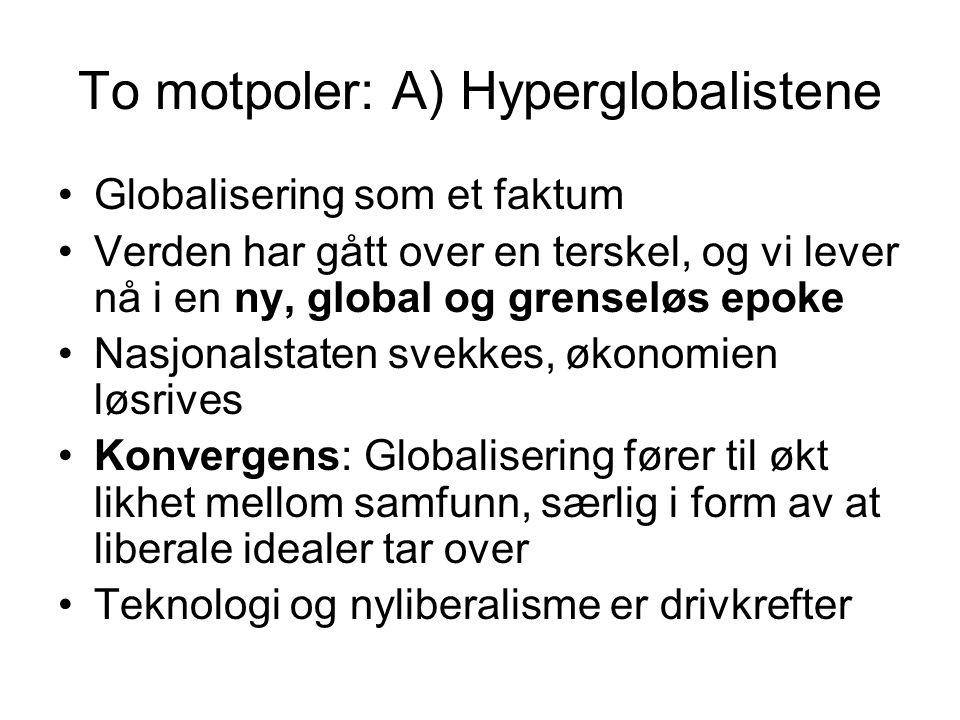 To motpoler: A) Hyperglobalistene