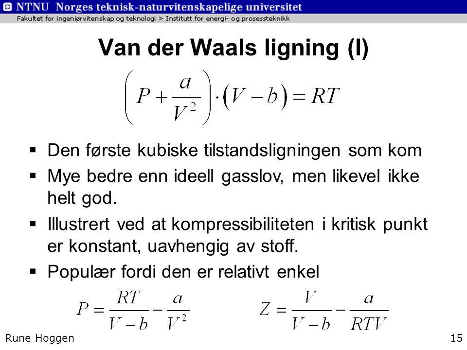 Van der Waals ligning (I)