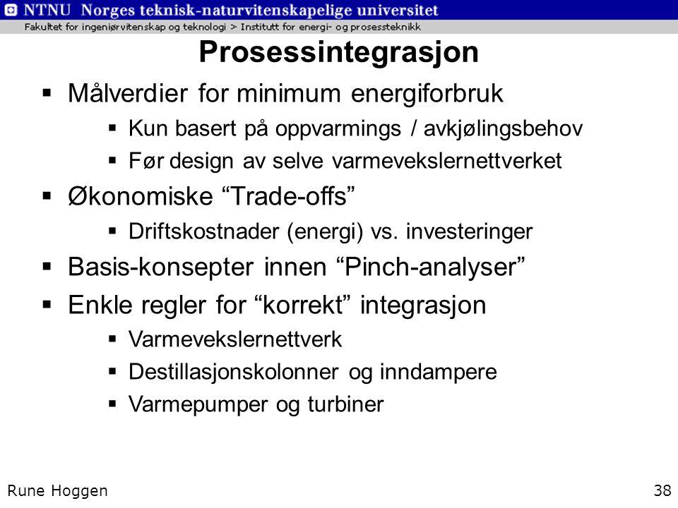 Prosessintegrasjon Målverdier for minimum energiforbruk