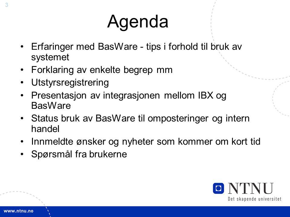 Agenda Erfaringer med BasWare - tips i forhold til bruk av systemet