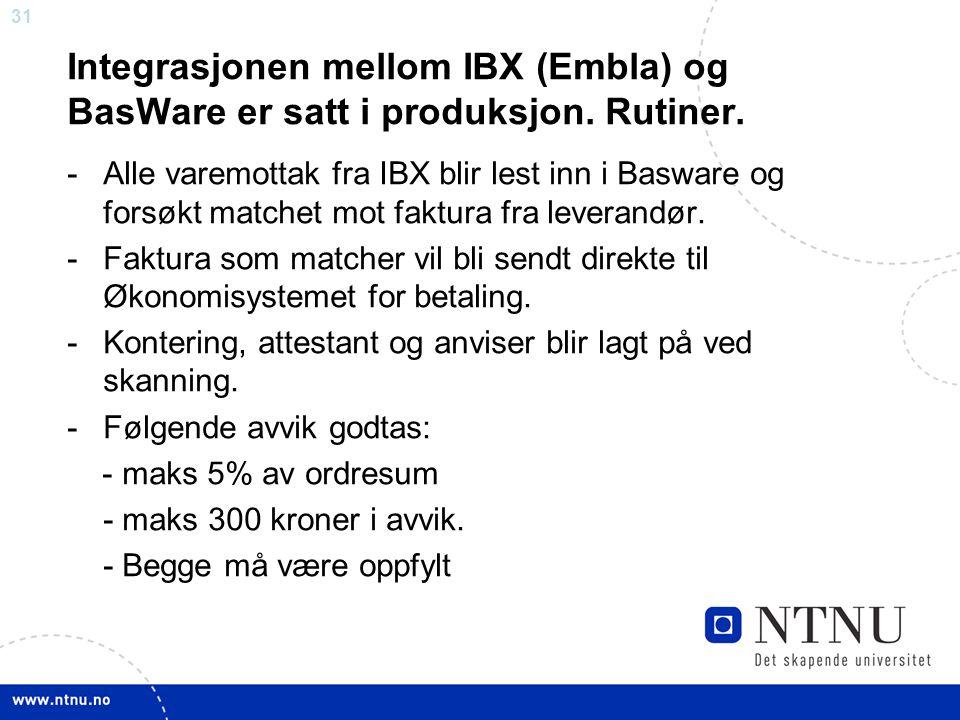 Integrasjonen mellom IBX (Embla) og BasWare er satt i produksjon